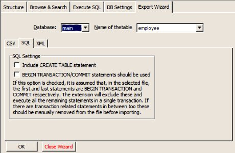 Export Wizard Tab - SQLite Manager
